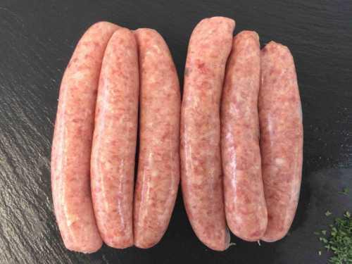 6 plain pork sausages