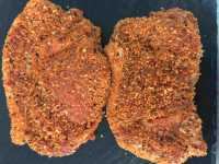 2 x 6oz peppered pork loin steaks